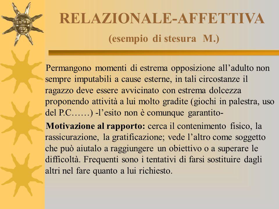 RELAZIONALE-AFFETTIVA (esempio di stesura M.) Permangono momenti di estrema opposizione all'adulto non sempre imputabili a cause esterne, in tali circ