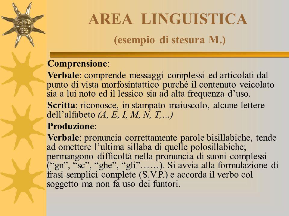 AREA LINGUISTICA (esempio di stesura M.) Comprensione: Verbale: comprende messaggi complessi ed articolati dal punto di vista morfosintattico purché i
