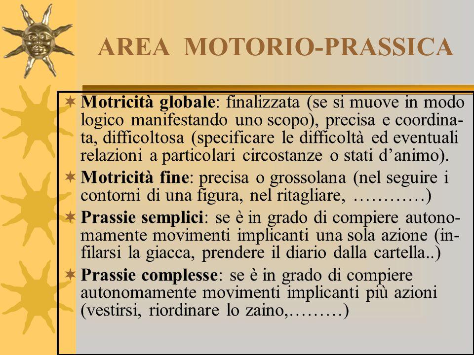 AREA MOTORIO-PRASSICA  Motricità globale: finalizzata (se si muove in modo logico manifestando uno scopo), precisa e coordina- ta, difficoltosa (spec