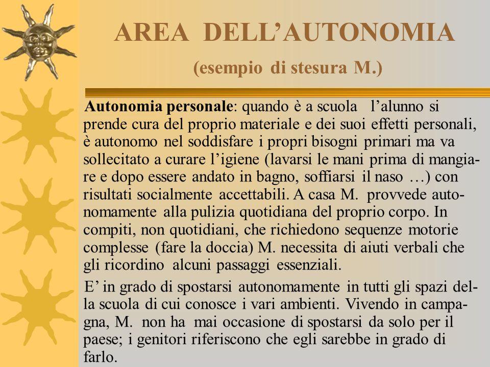 AREA DELL'AUTONOMIA (esempio di stesura M.) Autonomia personale: quando è a scuola l'alunno si prende cura del proprio materiale e dei suoi effetti pe