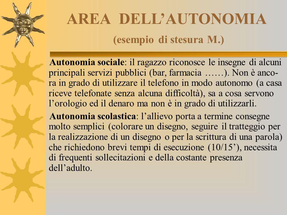 AREA DELL'AUTONOMIA (esempio di stesura M.) Autonomia sociale: il ragazzo riconosce le insegne di alcuni principali servizi pubblici (bar, farmacia ……
