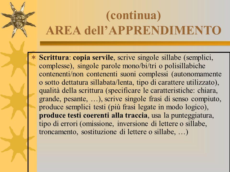 (continua) AREA dell'APPRENDIMENTO  Scrittura: copia servile, scrive singole sillabe (semplici, complesse), singole parole mono/bi/tri o polisillabic
