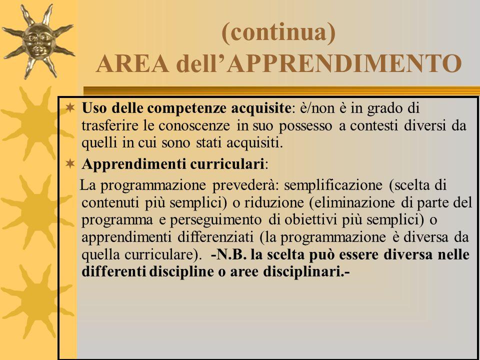 (continua) AREA dell'APPRENDIMENTO  Uso delle competenze acquisite: è/non è in grado di trasferire le conoscenze in suo possesso a contesti diversi d