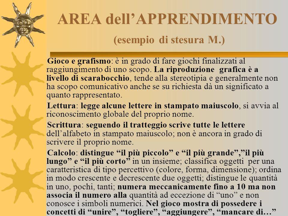 AREA dell'APPRENDIMENTO (esempio di stesura M.) Gioco e grafismo: è in grado di fare giochi finalizzati al raggiungimento di uno scopo. La riproduzion