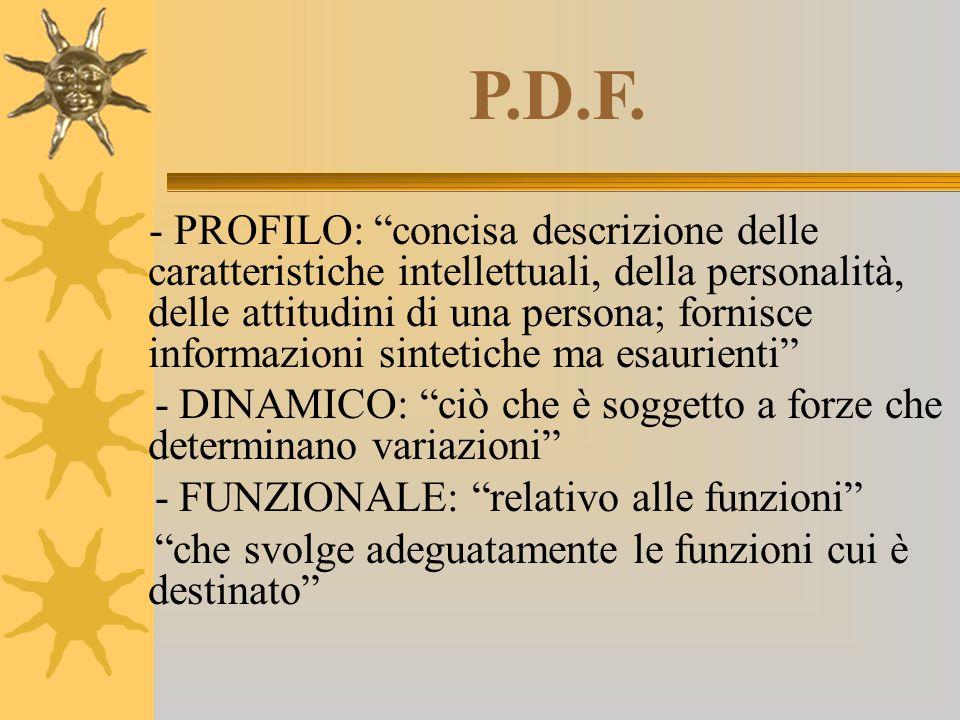 """P.D.F. - PROFILO: """"concisa descrizione delle caratteristiche intellettuali, della personalità, delle attitudini di una persona; fornisce informazioni"""