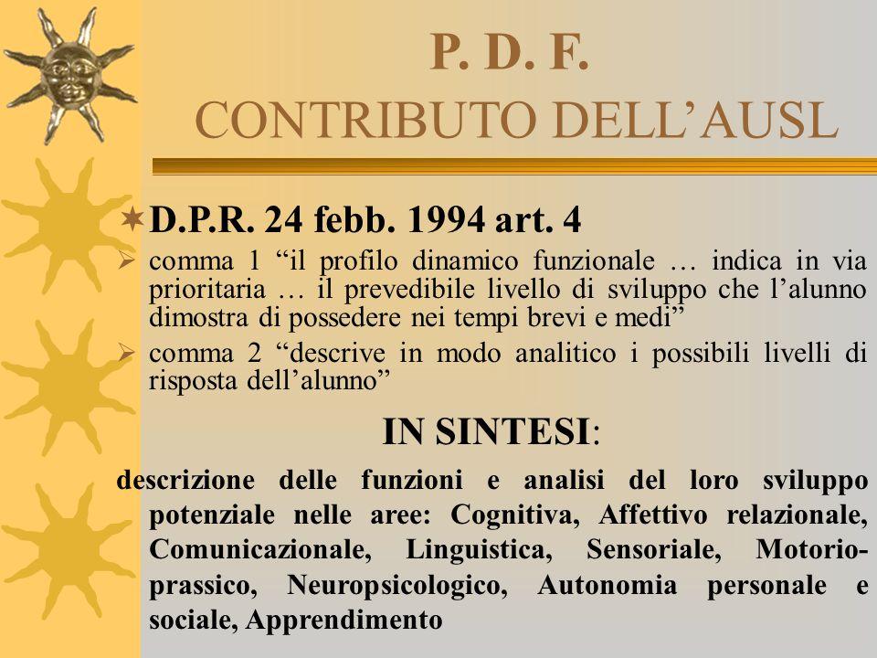 """P. D. F. CONTRIBUTO DELL'AUSL  D.P.R. 24 febb. 1994 art. 4  comma 1 """"il profilo dinamico funzionale … indica in via prioritaria … il prevedibile liv"""