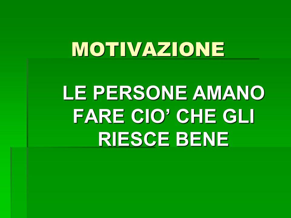 MOTIVAZIONE LE PERSONE AMANO FARE CIO' CHE GLI RIESCE BENE