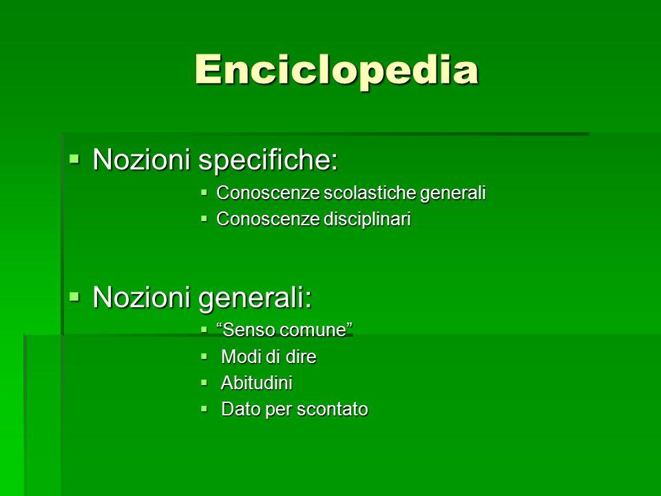 """Enciclopedia  Nozioni specifiche:  Conoscenze scolastiche generali  Conoscenze disciplinari  Nozioni generali:  """"Senso comune""""  Modi di dire  A"""