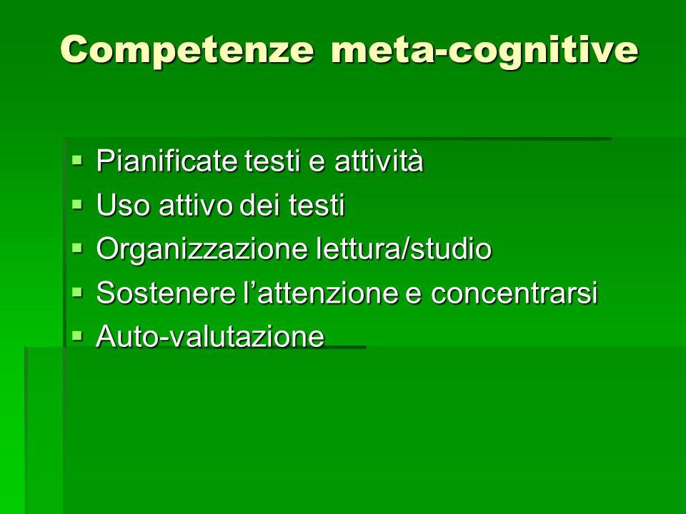 Competenze meta-cognitive  Pianificate testi e attività  Uso attivo dei testi  Organizzazione lettura/studio  Sostenere l'attenzione e concentrarsi  Auto-valutazione