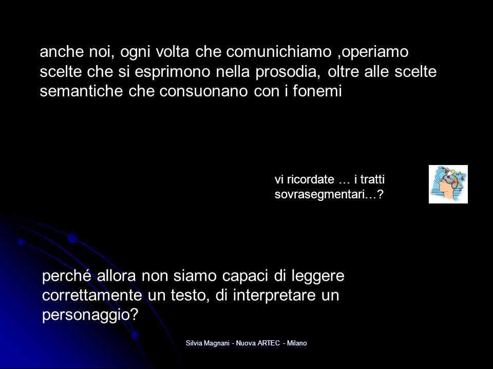 Silvia Magnani - Nuova ARTEC - Milano anche noi, ogni volta che comunichiamo,operiamo scelte che si esprimono nella prosodia, oltre alle scelte semant