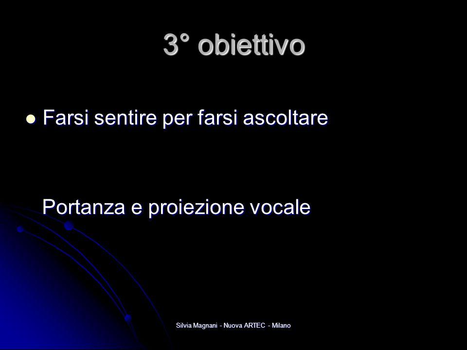 Silvia Magnani - Nuova ARTEC - Milano 3° obiettivo Farsi sentire per farsi ascoltare Farsi sentire per farsi ascoltare Portanza e proiezione vocale Po