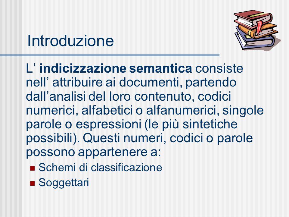 Introduzione L' indicizzazione semantica consiste nell' attribuire ai documenti, partendo dall'analisi del loro contenuto, codici numerici, alfabetici o alfanumerici, singole parole o espressioni (le più sintetiche possibili).