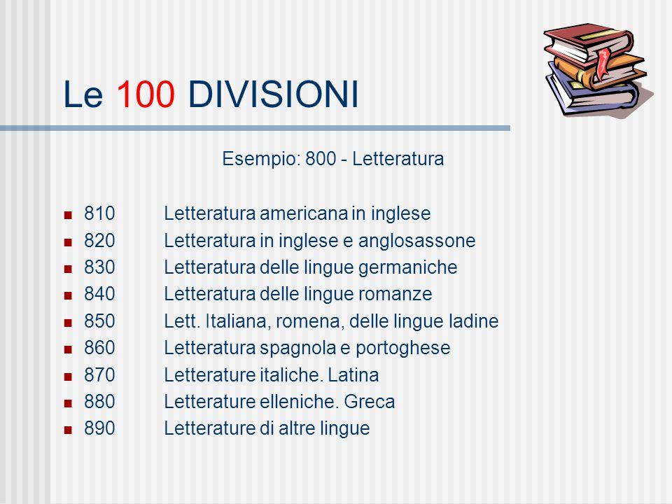 Le 100 DIVISIONI Esempio: 800 - Letteratura 810Letteratura americana in inglese 820Letteratura in inglese e anglosassone 830Letteratura delle lingue germaniche 840Letteratura delle lingue romanze 850Lett.