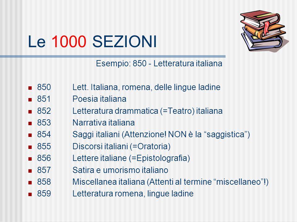 Le 1000 SEZIONI Esempio: 850 - Letteratura italiana 850Lett.