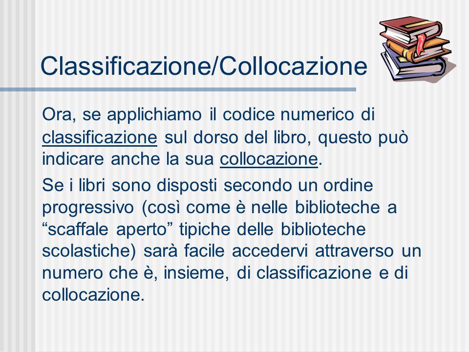 Classificazione/Collocazione Ora, se applichiamo il codice numerico di classificazione sul dorso del libro, questo può indicare anche la sua collocazione.