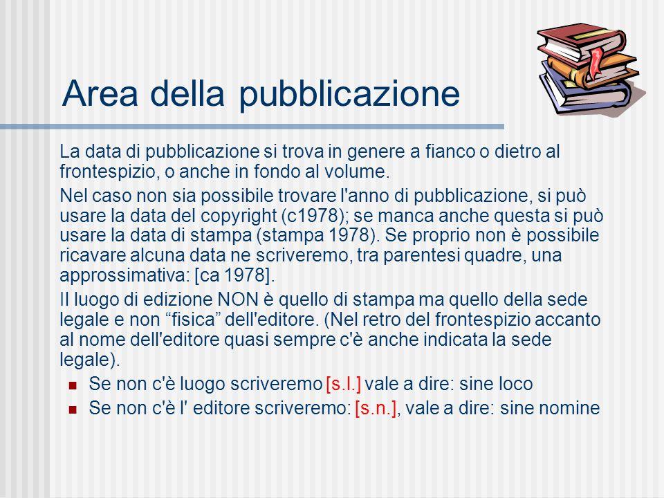 Area della pubblicazione La data di pubblicazione si trova in genere a fianco o dietro al frontespizio, o anche in fondo al volume.