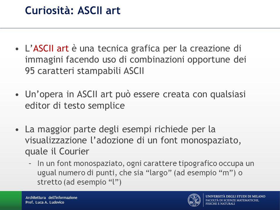 Architettura dell'informazione Prof. Luca A. Ludovico Curiosità: ASCII art L'ASCII art è una tecnica grafica per la creazione di immagini facendo uso