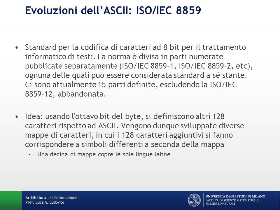 Architettura dell'informazione Prof. Luca A. Ludovico Evoluzioni dell'ASCII: ISO/IEC 8859 Standard per la codifica di caratteri ad 8 bit per il tratta