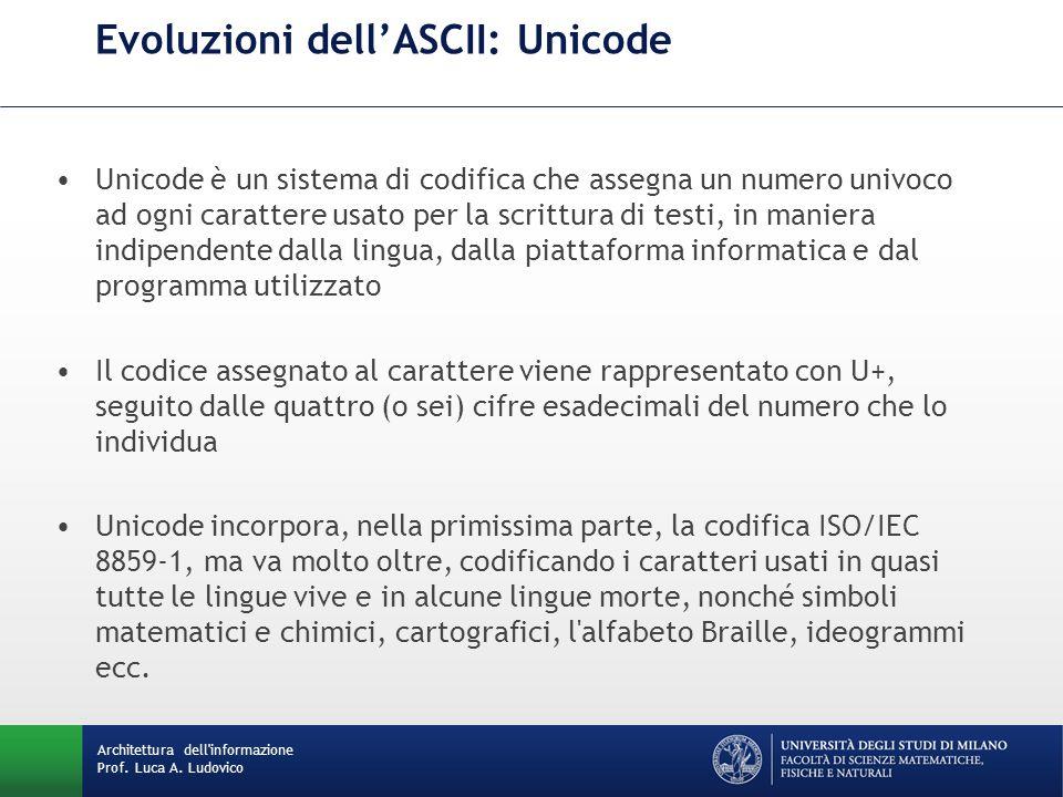 Architettura dell'informazione Prof. Luca A. Ludovico Evoluzioni dell'ASCII: Unicode Unicode è un sistema di codifica che assegna un numero univoco ad