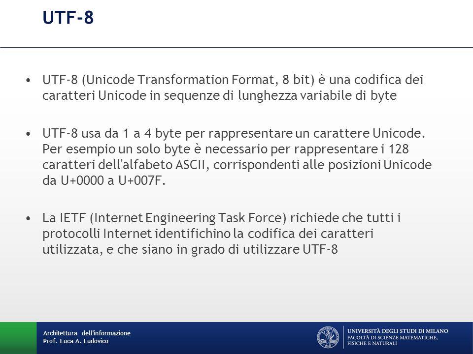 Architettura dell'informazione Prof. Luca A. Ludovico UTF-8 UTF-8 (Unicode Transformation Format, 8 bit) è una codifica dei caratteri Unicode in seque