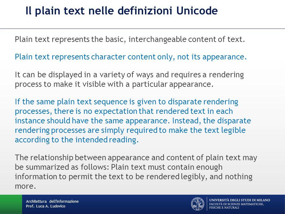 Architettura dell'informazione Prof. Luca A. Ludovico Il plain text nelle definizioni Unicode Plain text represents the basic, interchangeable content