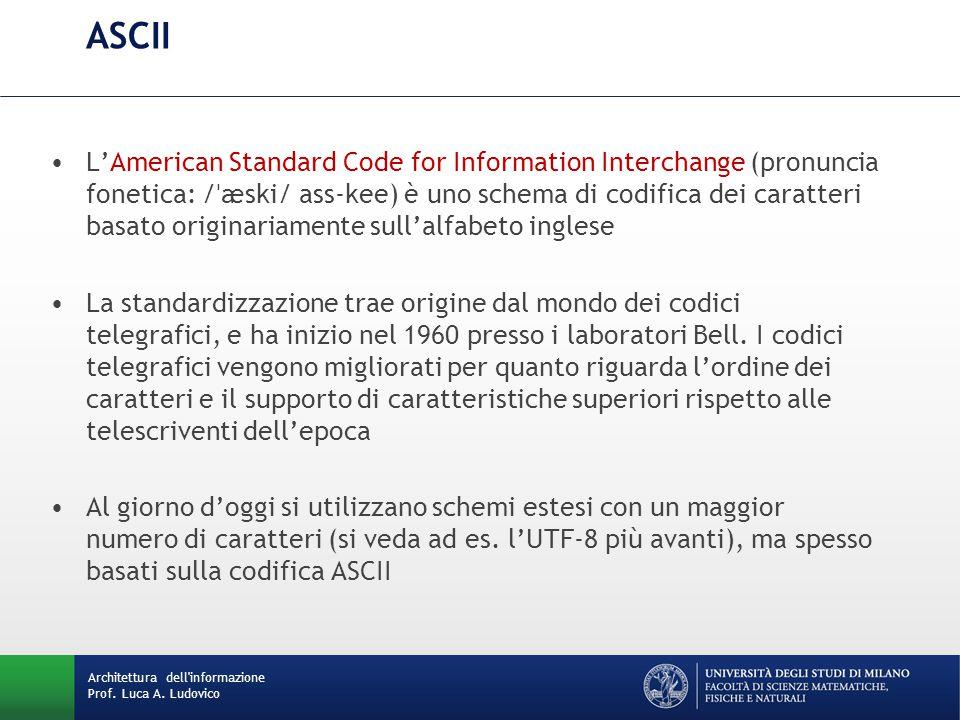 Architettura dell'informazione Prof. Luca A. Ludovico ASCII L'American Standard Code for Information Interchange (pronuncia fonetica: / ˈ æski/ ass-ke