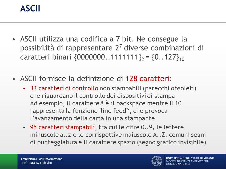 Architettura dell'informazione Prof. Luca A. Ludovico ASCII ASCII utilizza una codifica a 7 bit. Ne consegue la possibilità di rappresentare 2 7 diver