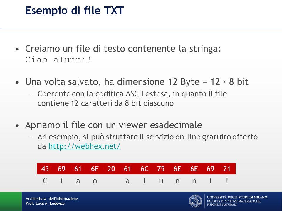 Architettura dell'informazione Prof. Luca A. Ludovico Esempio di file TXT Creiamo un file di testo contenente la stringa: Ciao alunni! Una volta salva