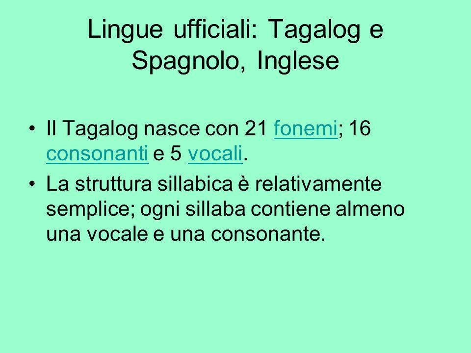Lingue ufficiali: Tagalog e Spagnolo, Inglese Il Tagalog nasce con 21 fonemi; 16 consonanti e 5 vocali.fonemi consonantivocali La struttura sillabica