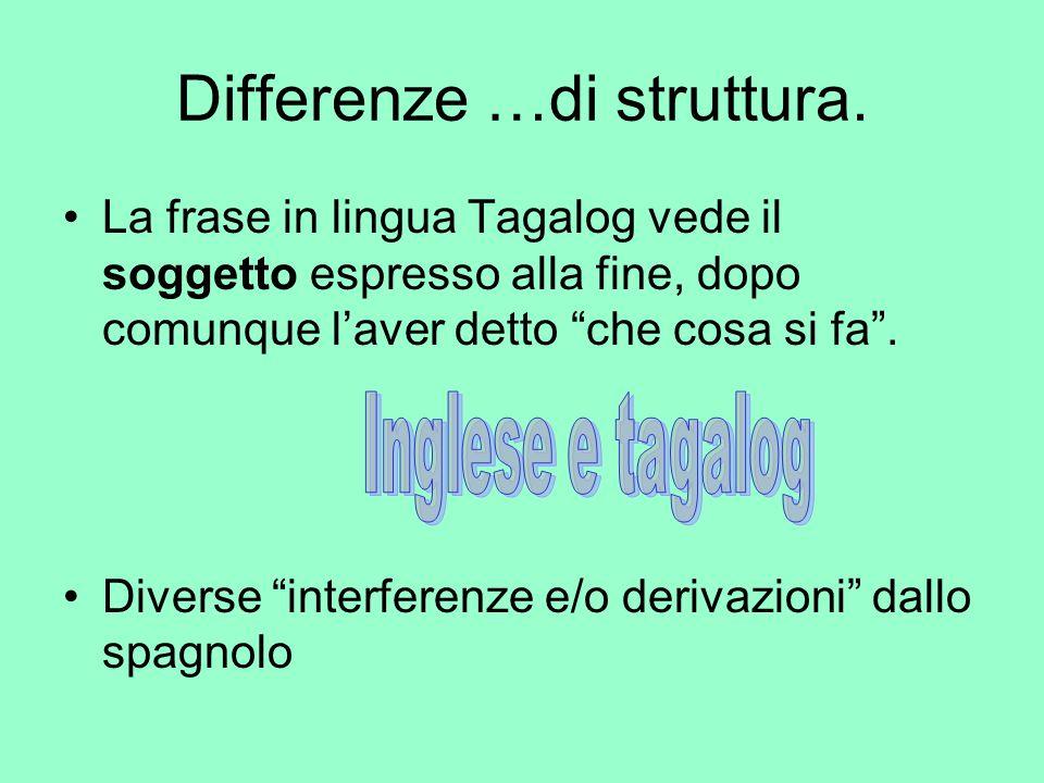 """Differenze …di struttura. La frase in lingua Tagalog vede il soggetto espresso alla fine, dopo comunque l'aver detto """"che cosa si fa"""". Diverse """"interf"""