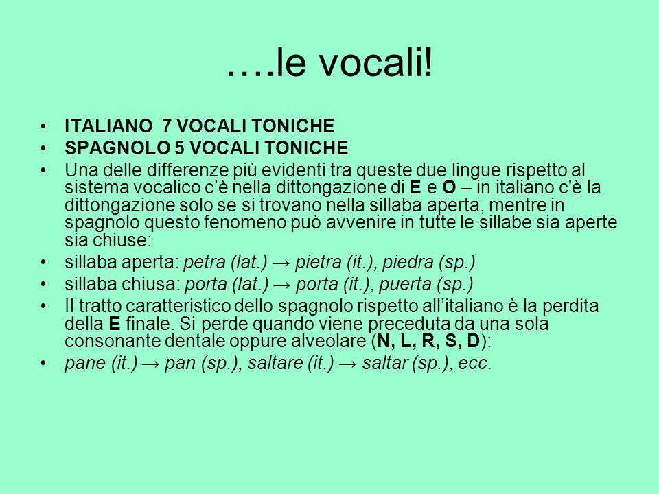….le vocali! ITALIANO 7 VOCALI TONICHE SPAGNOLO 5 VOCALI TONICHE Una delle differenze più evidenti tra queste due lingue rispetto al sistema vocalico