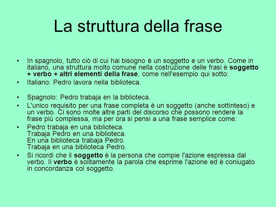 La struttura della frase In spagnolo, tutto ciò di cui hai bisogno è un soggetto e un verbo. Come in italiano, una struttura molto comune nella costru