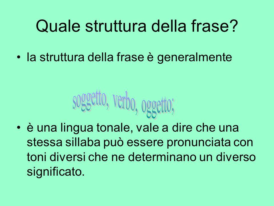Quale struttura della frase? la struttura della frase è generalmente è una lingua tonale, vale a dire che una stessa sillaba può essere pronunciata co