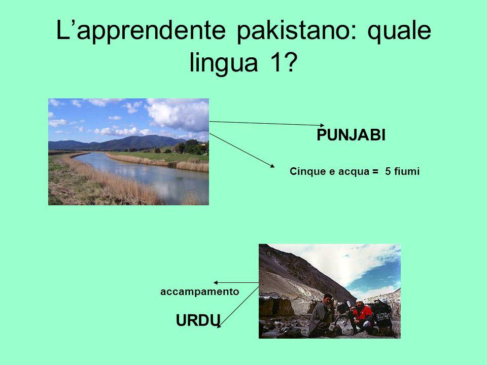 L'apprendente pakistano: quale lingua 1? PUNJABI accampamento URDU Cinque e acqua = 5 fiumi