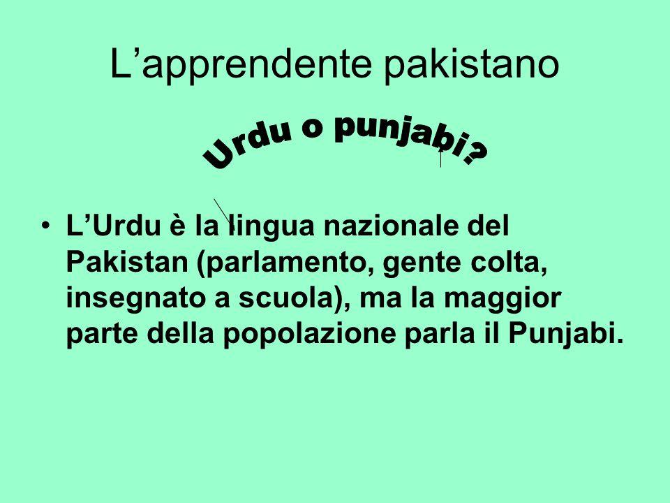 L'apprendente pakistano L'Urdu è la lingua nazionale del Pakistan (parlamento, gente colta, insegnato a scuola), ma la maggior parte della popolazione