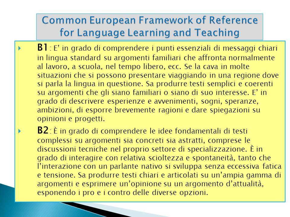  B1 : E' in grado di comprendere i punti essenziali di messaggi chiari in lingua standard su argomenti familiari che affronta normalmente al lavoro,