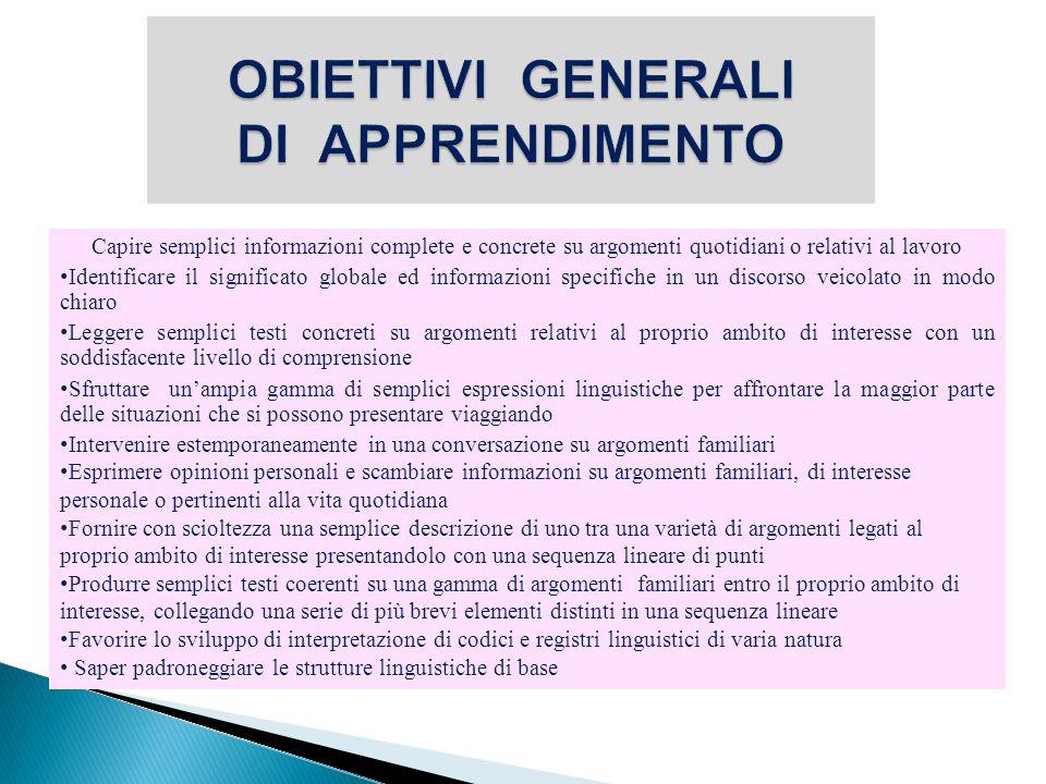  B1 : E' in grado di comprendere i punti essenziali di messaggi chiari in lingua standard su argomenti familiari che affronta normalmente al lavoro, a scuola, nel tempo libero, ecc.