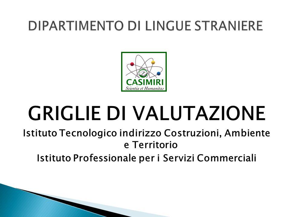 GRIGLIE DI VALUTAZIONE Istituto Tecnologico indirizzo Costruzioni, Ambiente e Territorio Istituto Professionale per i Servizi Commerciali