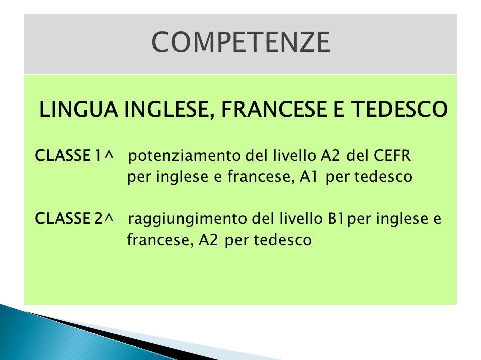 LINGUA INGLESE, FRANCESE E TEDESCO CLASSE 1^ potenziamento del livello A2 del CEFR per inglese e francese, A1 per tedesco CLASSE 2^ raggiungimento del