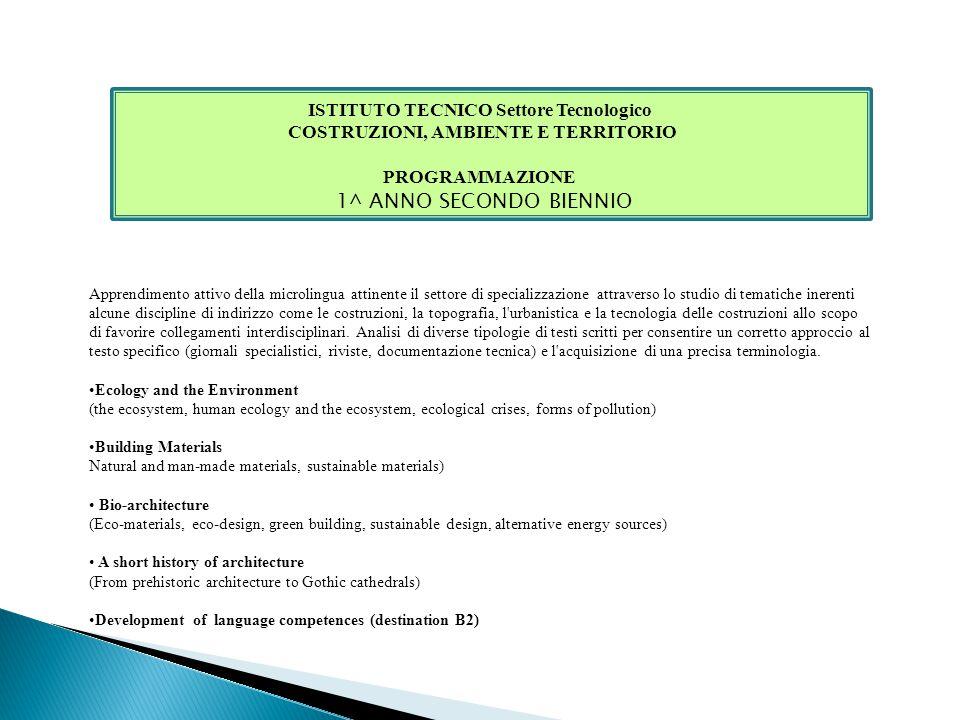 ISTITUTO TECNICO Settore Tecnologico COSTRUZIONI, AMBIENTE E TERRITORIO PROGRAMMAZIONE 1^ ANNO SECONDO BIENNIO Apprendimento attivo della microlingua