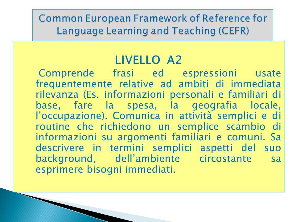 LIVELLO A2 Comprende frasi ed espressioni usate frequentemente relative ad ambiti di immediata rilevanza (Es. informazioni personali e familiari di ba