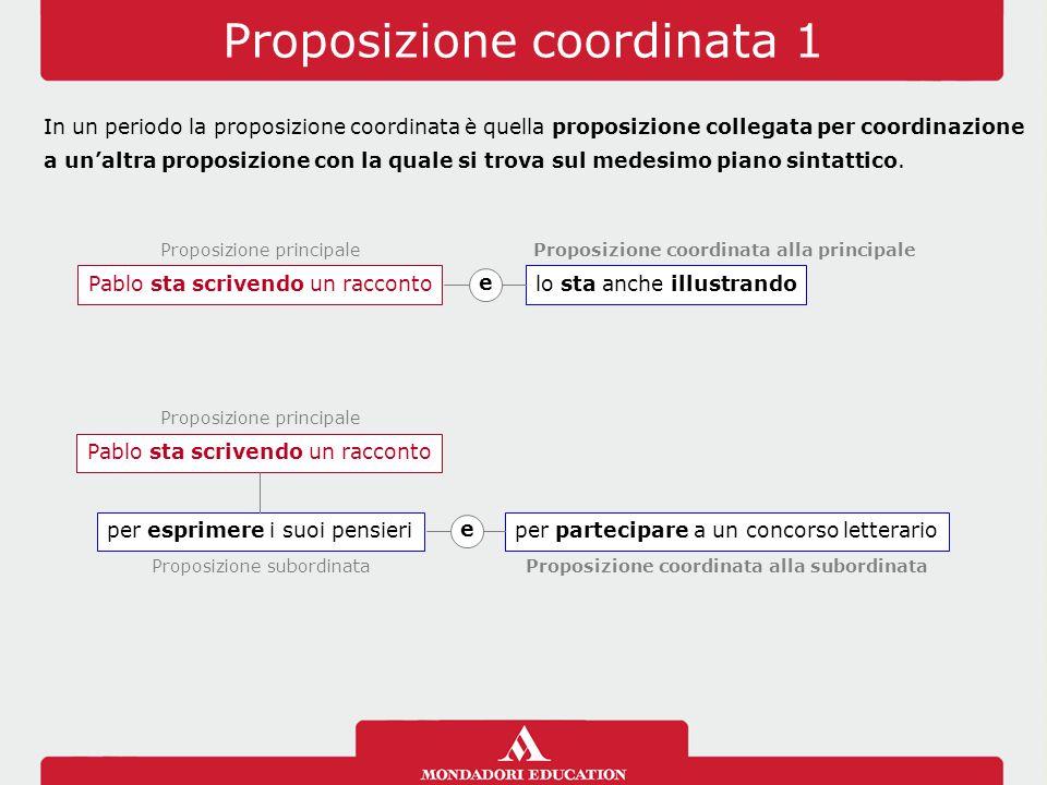 Proposizione coordinata 1 In un periodo la proposizione coordinata è quella proposizione collegata per coordinazione a un'altra proposizione con la qu