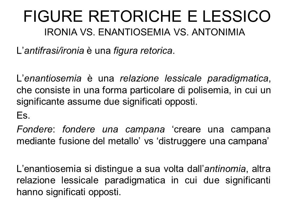 FIGURE RETORICHE E LESSICO IRONIA VS. ENANTIOSEMIA VS. ANTONIMIA L'antifrasi/ironia è una figura retorica. L'enantiosemia è una relazione lessicale pa