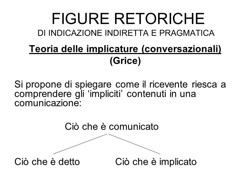FIGURE RETORICHE DI INDICAZIONE INDIRETTA E PRAGMATICA Teoria delle implicature (conversazionali) (Grice) Si propone di spiegare come il ricevente rie