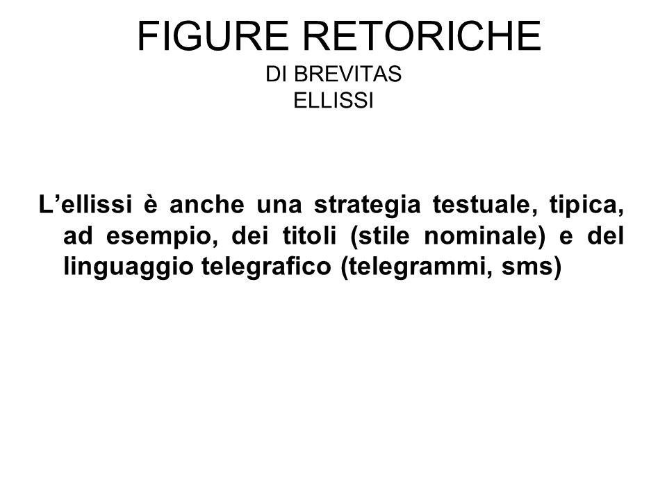 FIGURE RETORICHE DI BREVITAS ELLISSI L'ellissi è anche una strategia testuale, tipica, ad esempio, dei titoli (stile nominale) e del linguaggio telegr
