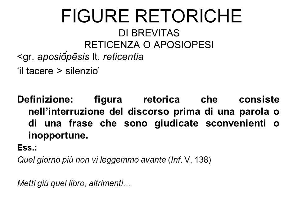 FIGURE RETORICHE DI BREVITAS RETICENZA O APOSIOPESI <gr.