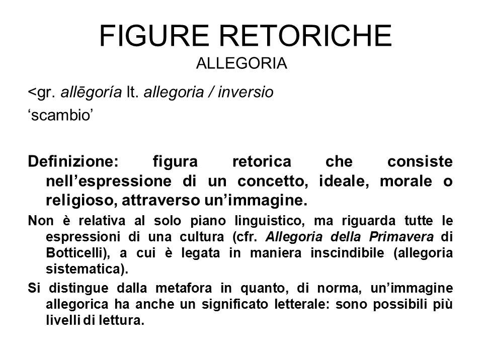FIGURE RETORICHE ALLEGORIA <gr. allēgoría lt. allegoria / inversio 'scambio' Definizione: figura retorica che consiste nell'espressione di un concetto