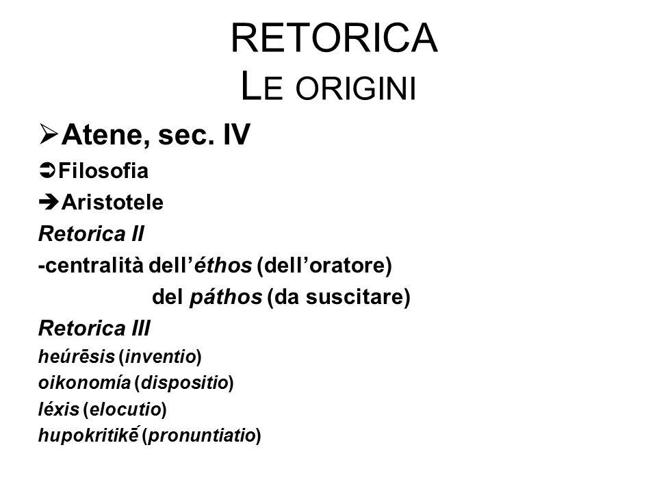 RETORICA L E ORIGINI  Atene, sec. IV  Filosofia  Aristotele Retorica II -centralità dell'éthos (dell'oratore) del páthos (da suscitare) Retorica II