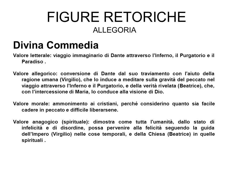 FIGURE RETORICHE ALLEGORIA Divina Commedia Valore letterale: viaggio immaginario di Dante attraverso l'Inferno, il Purgatorio e il Paradiso. Valore al