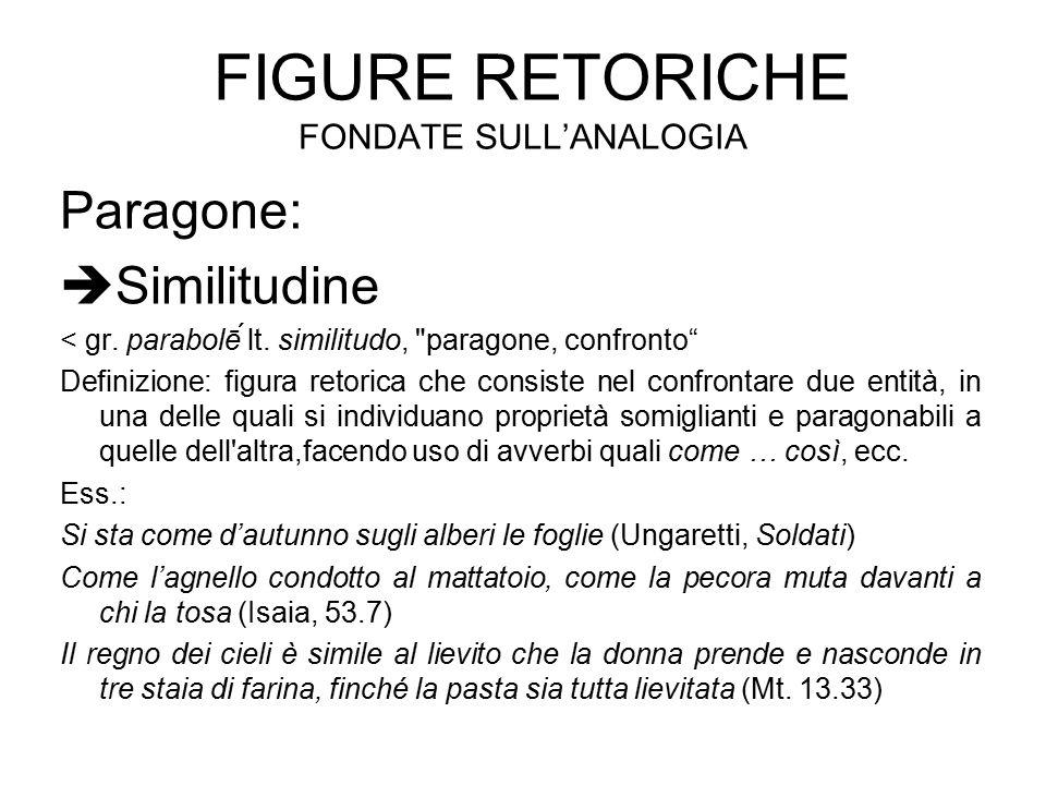 FIGURE RETORICHE FONDATE SULL'ANALOGIA Paragone:  Similitudine < gr. parabolḗ lt. similitudo,